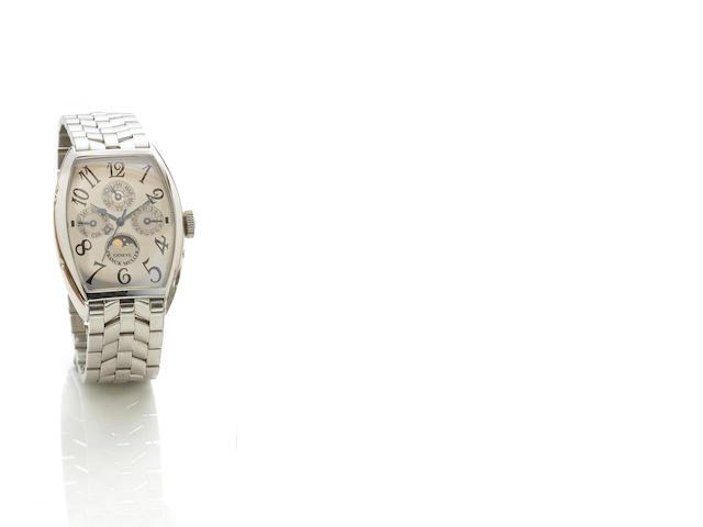 Franck Muller platinium 5850 QP moonphase perpetual silver face on platinum bracelet