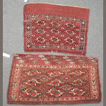 Two Turkoman chuvals size approximately 3ft. x 3ft. 2in and 2ft. 8in. x 4ft. 10in.