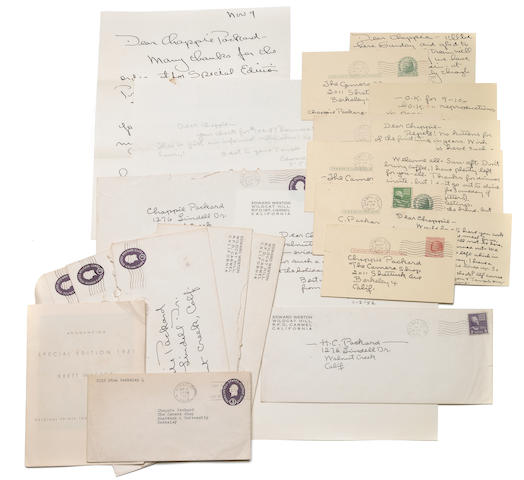 Weston, Edward  & Brett.  Group of 18 letters and postcards.