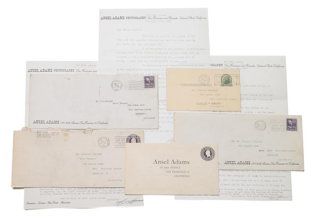 Adams, Ansel.  Group of 3 letters and a postcard, along with a letter from Cedric Wright