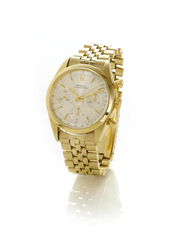 Rolex. A very fine and rare 14k gold chronograph bracelet watch'Pre-Daytona', Ref:6238, 1960