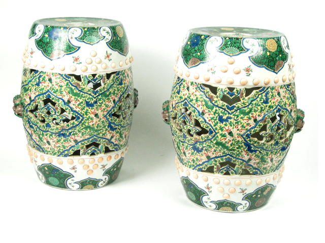 A pair of Chinese famille verte porcelain garden seats