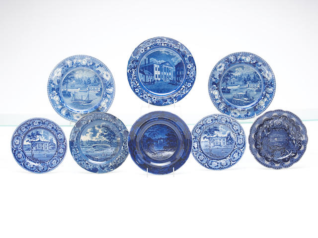 A grouping of eight Historical Blue pieces,