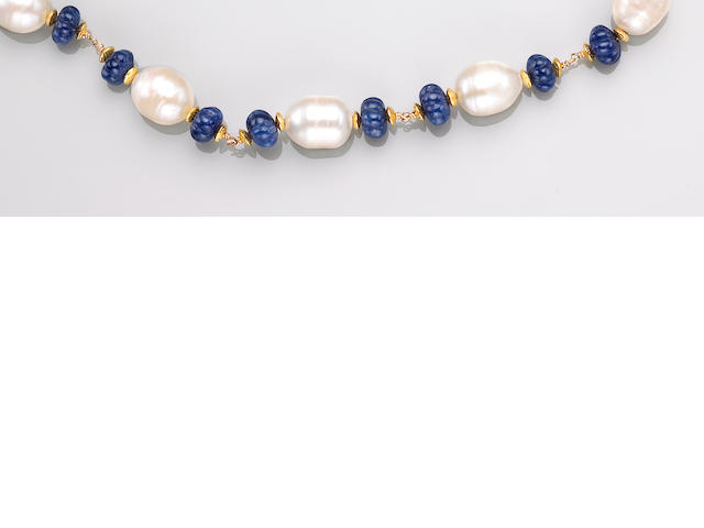 Carved Sapphire and Cultured Pearl Necklace