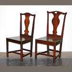 A set of six George III elm and oak side chairs