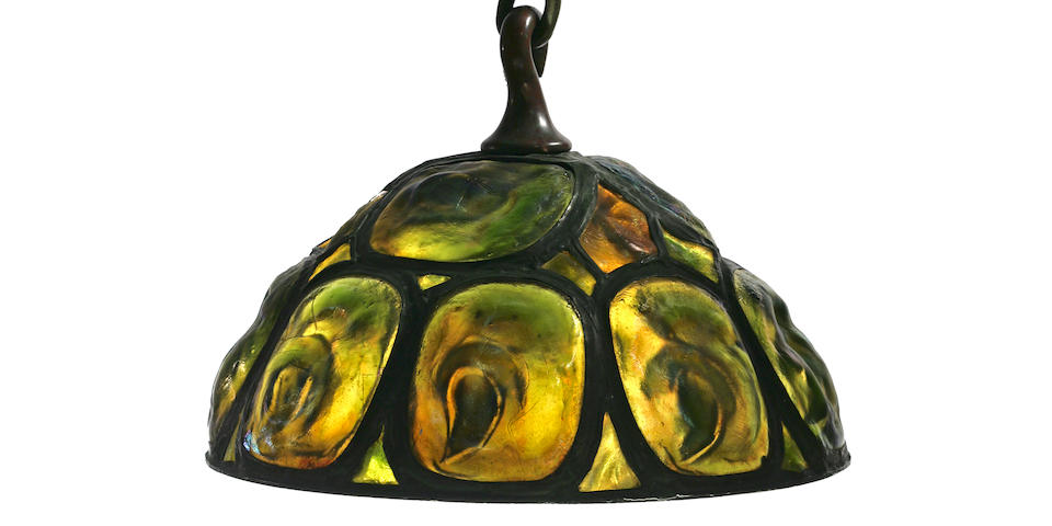 A good Tiffany Studios Favrile glass and bronze Turtleback Tile chandelier