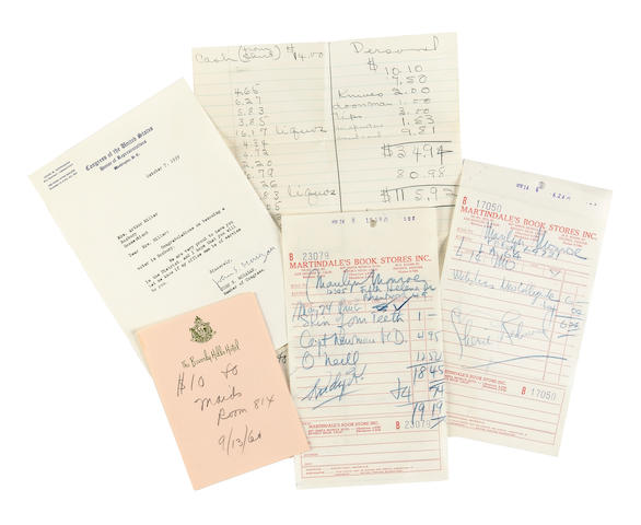 A Marilyn Monroe group of miscellaneous receipts, 1959-1962