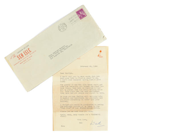 A Marilyn Monroe-received letter from Isidore Miller, 1962