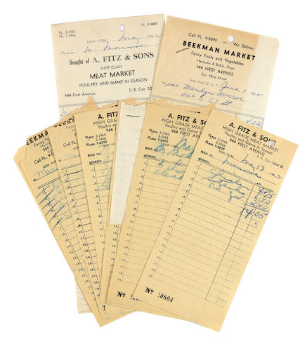 A Marilyn Monroe group of supermarket receipts, 1962