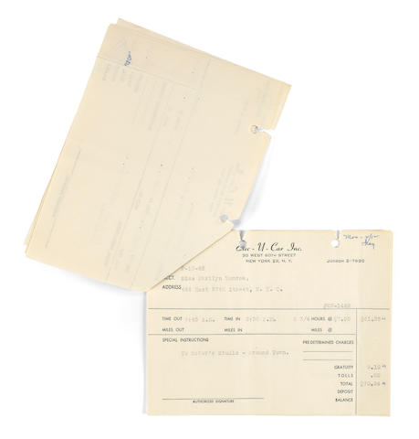 A Marilyn Monroe group of Exec-U-Car Inc. receipts, 1962