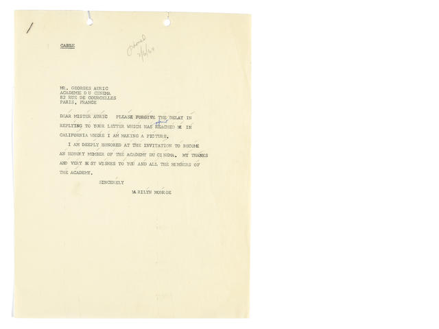 A Marilyn Monroe-dictated document, 1960