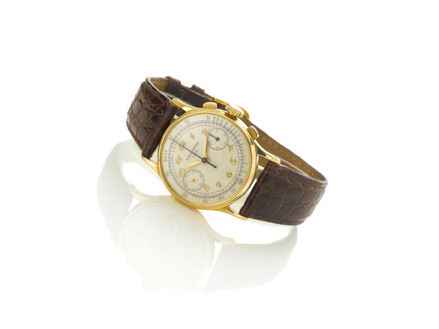 Patek Philippe. A very fine and rare 18ct gold chronograph wristwatch with Extract from Archives ???