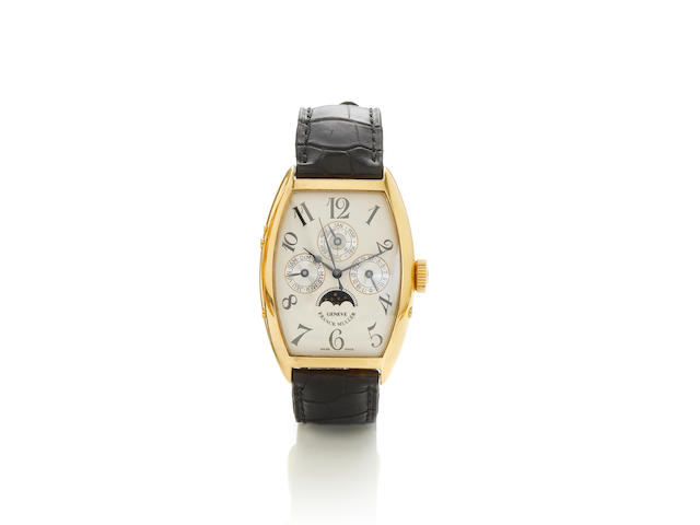 Franck Muller. A fine 18k gold automatic centre seconds perpetual calendar wristwatch with moon phas