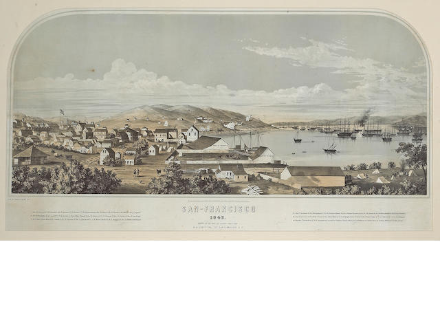 Hand-colored lithograph, San Francisco, drawn on the spot, 1849.