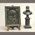 A patinated bronze bust of Henry IV of France (1553-1610) and Napoleonic commemorative plaque for the American market