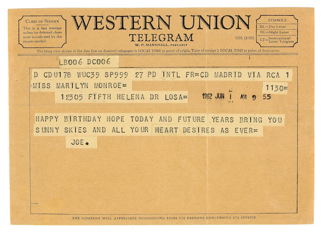 A Marilyn Monroe-received Western Union telegram from Joe DiMaggio for her last birthday, June 1, 1962