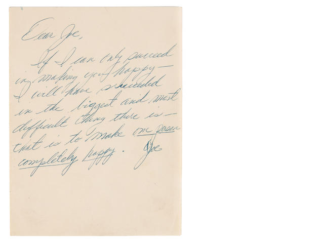 A Marilyn Monroe letter handwritten to Joe DiMaggio, probably 1962
