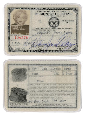 A Marilyn Monroe signed 'United States of America Department of Defense' identification card, 1954