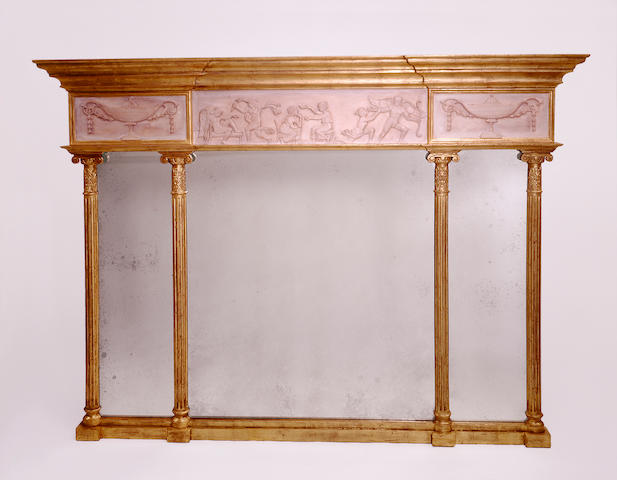 A Regency style giltwood triple plate  overmantle mirror