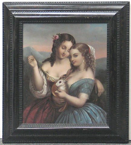 A German 'process' picture on tin of two girls with rabbits