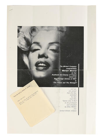A Marilyn Monroe-received note and advertisement from her press agent, Arthur P. Jacobs, 1958