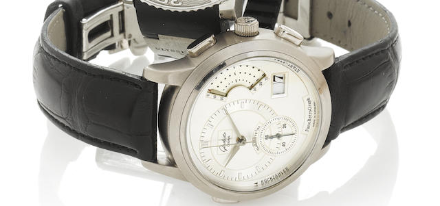 Glashutte. A fine limited edition 18k white gold fly-back chronograph wristwatch with date, countdown function and acoustic signal together with fitted box and papersGlashutte Original, PanoRetroGraph, No.108/150, Recent