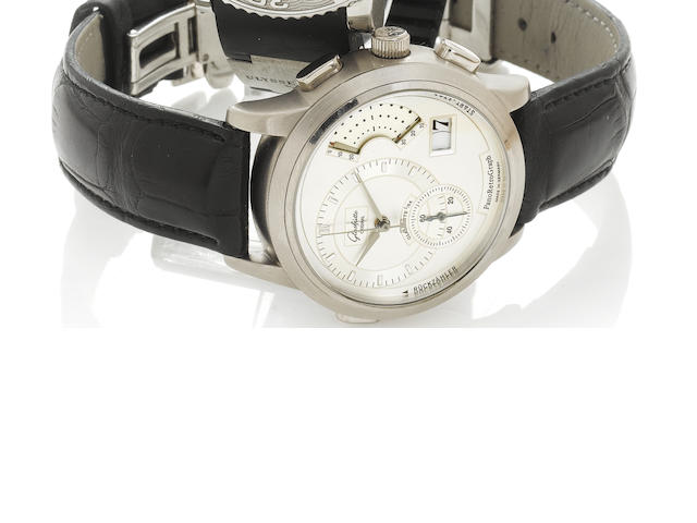 A Glashutte Pano Retro Graph 18k white gold wristwatch with leather deployaut strap, 108/150