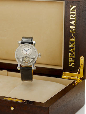 A Speake-Marin Vintage Tourbillon platinum wristwatch with leather and platinum deployaut strap