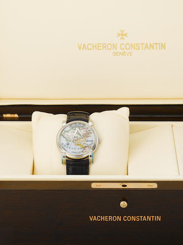 "Vacheron Constantin. A fine and unusual platinum automatic wristwatch with retrograde marine divider hands over an enamel map of America with an 18K white gold Vacheron Constantin double deployant clasp together with the original fitted box and certificate""Gérard Mercator 1594-1994"", Movement No.862079, Case No.756200, Ref:43050, Made in a limited edition in 2001"