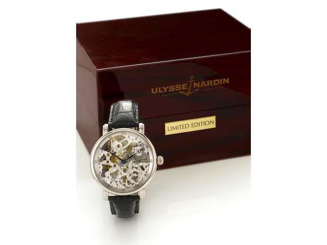Ulysse Nardin. A very fine and rare limited edition 18k white gold over sized skeletonized wristwatch together with fitted presentation boxMaxi Skeleton, No.7/18, circa 1999