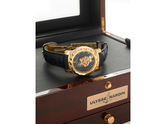 Ulysse Nardin. A very fine and unusual limited edition 18k rose gold 7 day Carrousel-Tourbillon wris