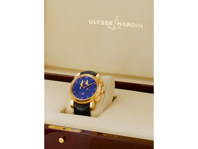 Ulysse Nardin. A very fine and rare 18k gold automatic hour repeating wristwatch with automaton Jack striking hours and half hours, together with fitted box and papersHour Striker, No.10, Recent