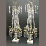 A pair of Swedish Neoclassical style gilt brass, cut glass and marble three light girandoles