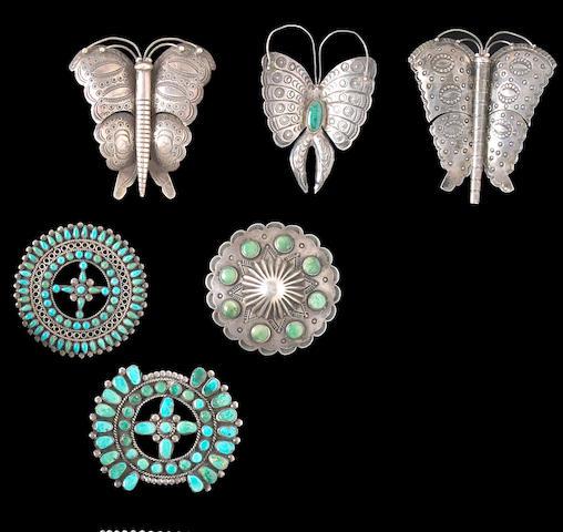 Six Navajo or Zuni pins