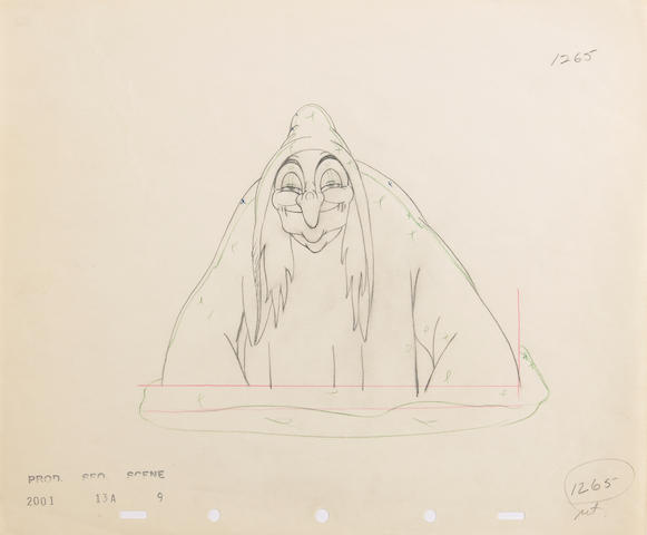 "A Walt Disney animation drawing from ""Snow White and the Seven Dwarfs"""