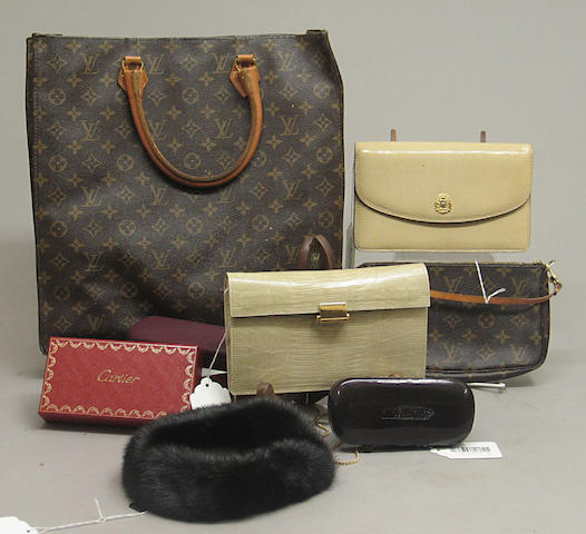 A group of Louis Vuitton Monogram canvas bags, exotic skin clutches and other accessories