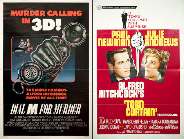 Four Alfred HItchcock one sheet film posters