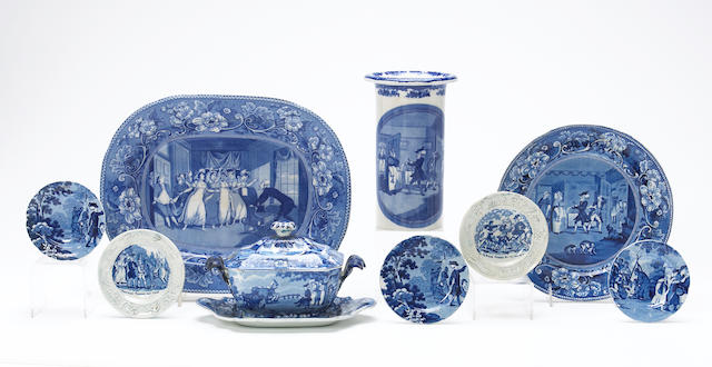 A group of English blue and white literary Staffordshire in the 'Doctor Syntax' series