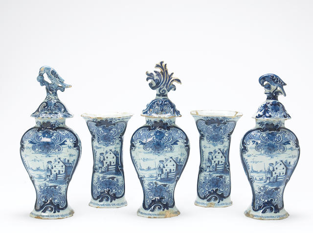 A Dutch Delft blue and white five piece garniture