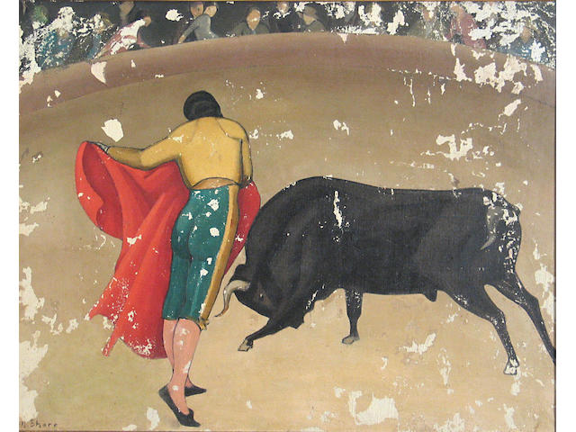 Henrietta Shore (American, 1880-1963) Bull Fight, in poor condition, needs restoration...