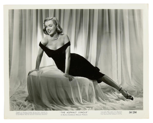 "A Marilyn Monroe original black and white publicity photograph from ""The Asphalt Jungle"""