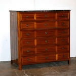 A Continental inlaid walnut chest of drawers
