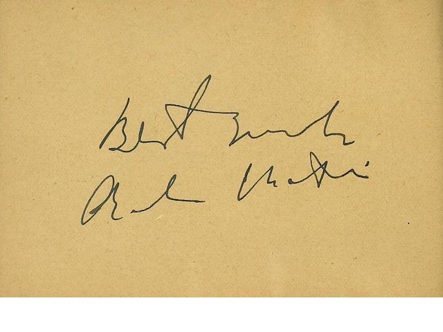 A Charlie Chaplin signature, circa 1940s