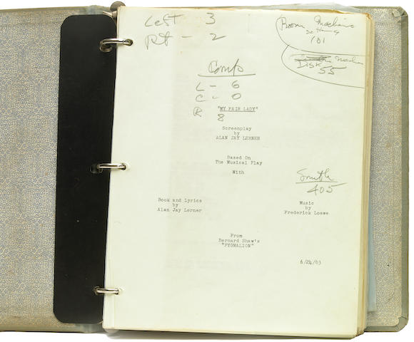 "A working script owned by soundman Francis Scheid from ""My Fair Lady"""
