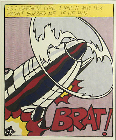After Roy Lichtenstein (American, 1923-1997) As I opened fire...; The enemy would have been warned; That my ship was below them; (3)