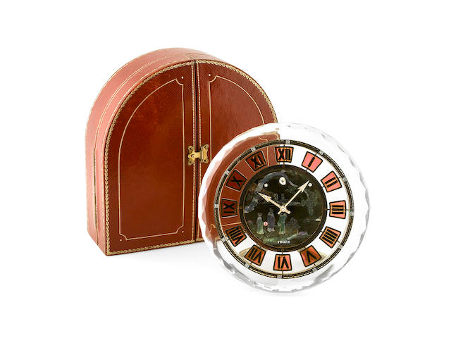 Cartier, France. An exceptionally fine and rare Art Deco round case gold, platinum, brass, gemset, enamel, mother-of-pearl and rock crystal clock, with fitted box