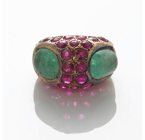 An emerald and ruby ring, Chanel