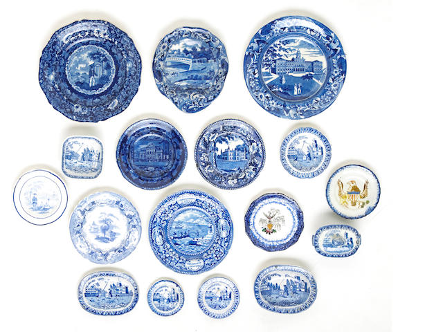 A grouping of Historical Blue small plates of American scenes