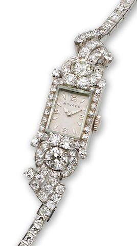 An art deco lady's diamond wristwatch, Movado,