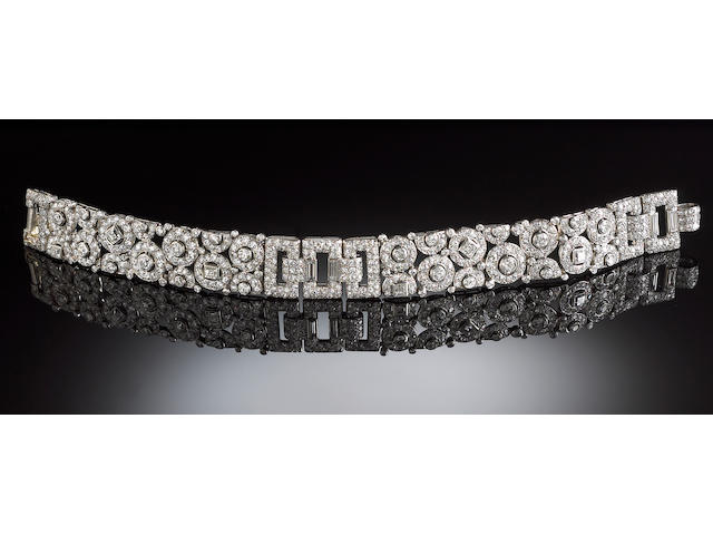 A late art deco diamond bracelet, Cartier,